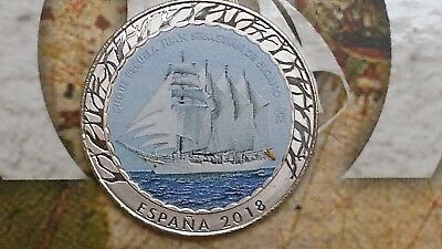 1,5 euro 2018 Spagna Espagne España Spain Spanien Испания color Historia Elcano