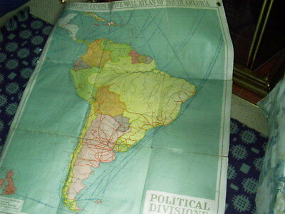 PHILIPS' COMPARATIVE WALL ATLAS OF SOUTH AMERICA.2. POLTICAL DIVISIONS c.1920s