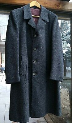 Vintage 1960s Wool Peacoat Grey Made In Canada Sz L