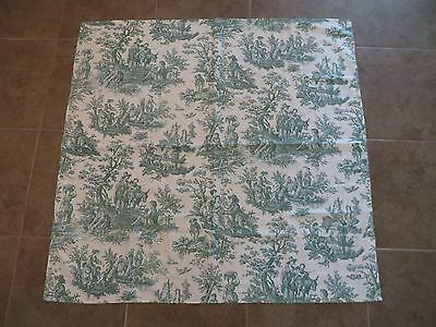 Towle Linen Tablecloth Vintage Green White Floral 50 X 50 Inches Euc