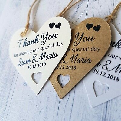 Personalised Thank you Tags Thanks Wedding Special Day Craft Tied the Knot DFC51