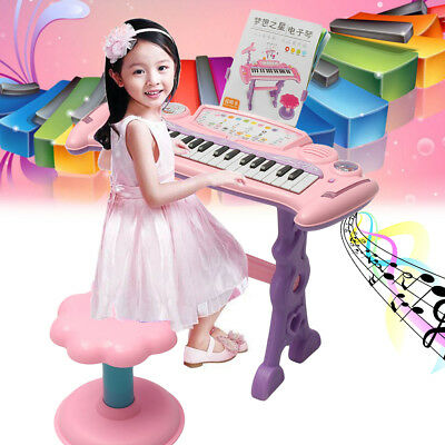 37Key Kids Piano Keyboard Musical Electronic Educational W/ Microphone + Stool