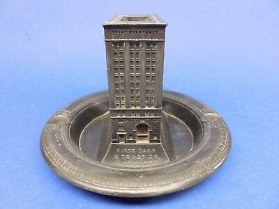 early Souvenir Building. First Bank & Trust Co., Utica, NY. Matchbox holder