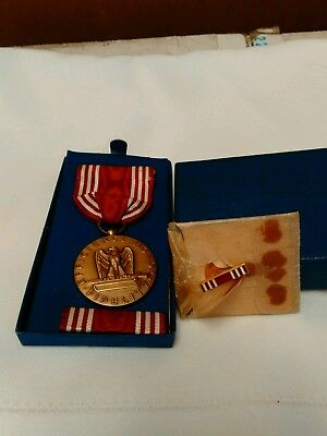 WWII US Military Medal With Ribbon, Bar Pin, Lapel Pin For Good Conduct 1944