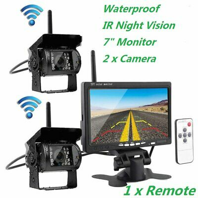 "Wireless 7"" LCD Monitor + 2 x Rear View Reversing Camera Kits For Car Bus Truck"