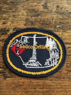 """Vtg Sedco Drilling Embroidered Sew On Patch 4"""" Oil Gas Rig Alberta Schlumberger"""