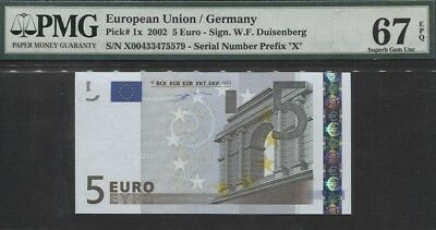 TT PK 1x 2002 EUROPEAN UNION / GERMANY 5 EURO PMG 67 EPQ SUPERB GEM UNCIRCULATED