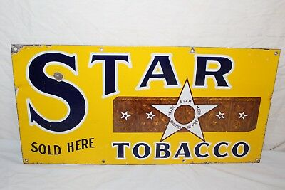 """Vintage 1920's Star Chewing Tobacco Gas Oil 24"""" Porcelain Metal Sign"""