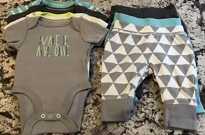 NWT- 7pc. BABY BOY CLOTHING LOT SIZE 12 MONTHS PANTS BODYSUITS