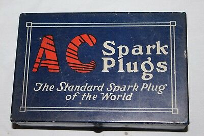Rare Vintage 1920's AC Spark Plugs Car Metal Tin Can Box Gas Station Oil Sign