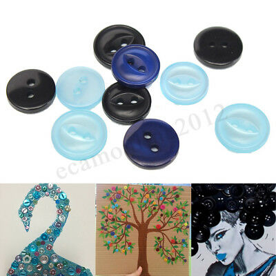 50Pcs Plastic Fisheye Fish Eye Round Resin Buttons 2 Holes For Sewing Craft DIY