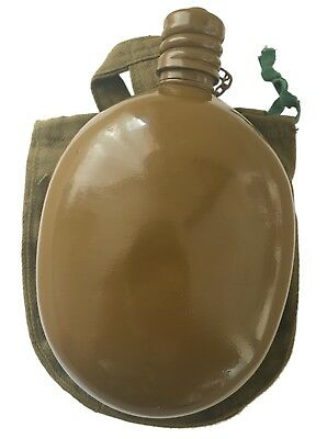 Genuine Soviet USSR Russian Army Military Water Vodka Flask Bottle Belt Case