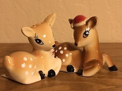 Christmas Holiday Deer Fawn Buck Doe RETRO 1950s STYLE Salt & Pepper Shakers NWT