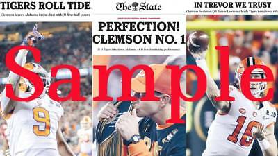 CLEMSON 2019 NATIONAL CHAMPIONS The State Newspaper commerorative poster Dabo