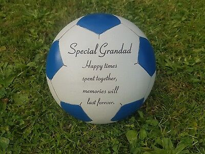 Grandad Grave Memorial Ornament Remembrance Blue Football  Plaque Grandad