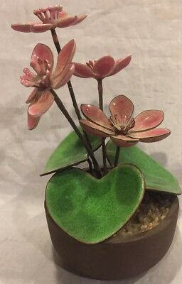 """Vintage 5"""" Handcrafted Enamel Over Copper Flowers & Leaves In Pot Beautiful"""
