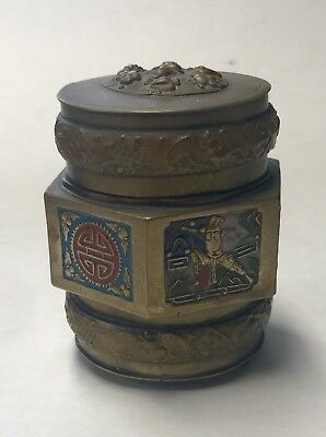 Antique  Brass & Enamel Opium Container & Lid Jar Fine Chinese Vintage