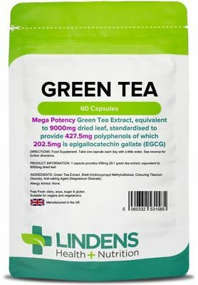 Green Tea 9000mg Extract 60 Capsules 203mg EGCG Weight Loss Fat Burner Lindens