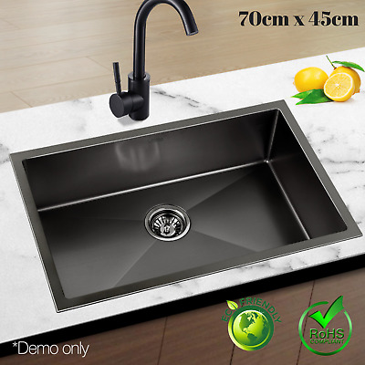 NEW 70cm Black Sink 304 Stainless Steel Nano Kitchen Laundry Basin Tub X-Flume