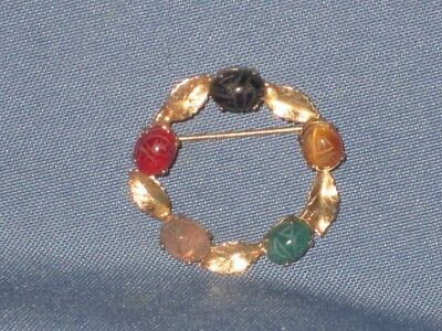 Vintage Gold-Tone Egyptian Revival Gemstone Cabochon Scarab Beetle Pin Brooch