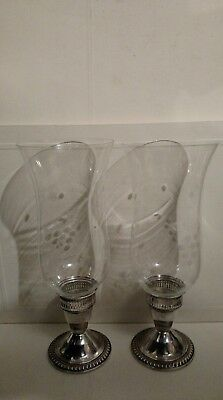 Vintage pair of Duchin Sterling silver etched class hurricane Candlesticks lamp