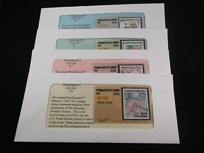 """Unique set of four $6 PhilaTelecards -- """"STAMP COLLECTING"""""""