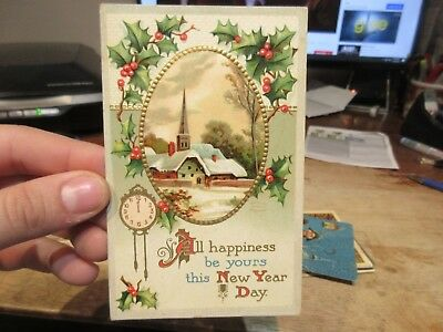 Vintage Old Antique Victorian Era Happy New Year Postcard Clock Midnight Church