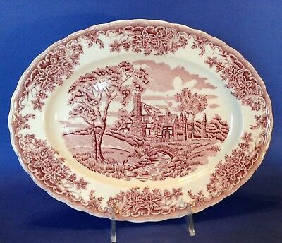 Churchill - The Brook - Large Oval Platter With Scalloped Rim - Pink - England