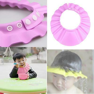 Soft Baby Kid Adjustable Hair Wash Hat Shampoo Bathing Shower Eye Shield Pink DI