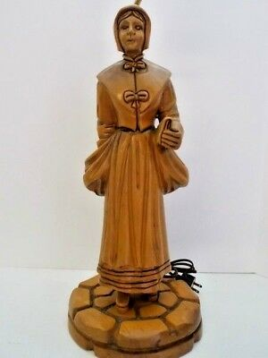 Anne Hutchison 1st US Woman Religeous Leader Heifetz Style & Era Wood Lamp