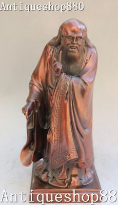 "11""China Pure Bronze Stand Great Philosopher Founder Taoism Laozi Lao-tzu Statue"