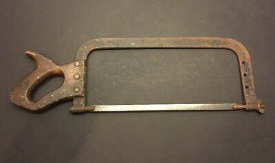 "Antique Wood Handle  Hacksaw . Heavy Duty Fixed 12"" Blade. Unusual Collectible"