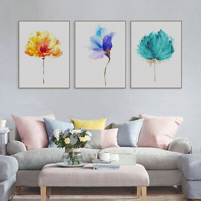 AU_ Unframed Watercolor Flower Picture Wall Painting Canvas Print Home Decor Sig