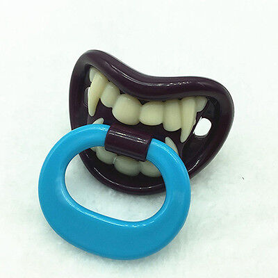 AU_ Baby Boy Girl Funny Novelty Dummy Baby Pacifier Vampire Tooth Nipple New Tre