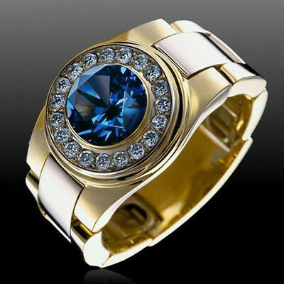 Men Round Cubic Zirconia Wedding Band Engagement Finger Ring Jewelry Dating Pret