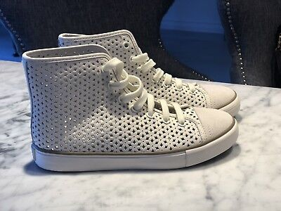 26163842e29119 NEW Tory Burch Flower Perforated Leather High-top White Sneakers