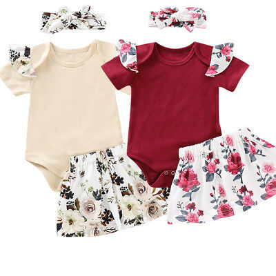 Newborn Baby Girl Romper Tops Jumpsuit Pants Headband Outfit Clothes Set Dress