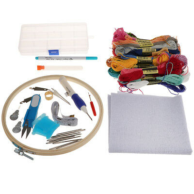 Embroidery Starter Kit With Hoops Colorful Threads Needles Fabric Pens Etc