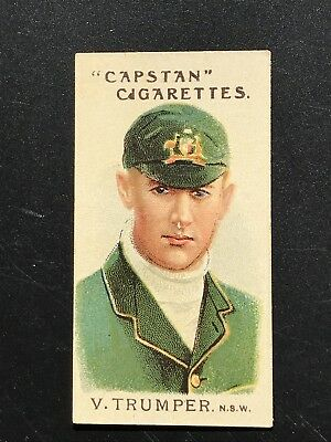 1907 Wills Capstan Cigarette Card Australian & English Cricketers V Trumper # 4