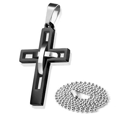 Men's Black Silver Double Hollow Cross Stainless Steel Pendant Necklace W/ Chain