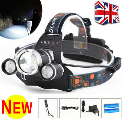 UK 12000LM 3 x XML CREE T6 LED Rechargeable Head Torch Headlamp Lamp Light