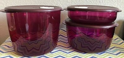 Tupperware Rock N Serve Microwave Containers Set of 3 Plum 8 1/2, 12 1/2 Cup New