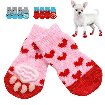 4PCS Pet Puppy Dog Shoes Anti Slip Socks Small Dogs Cat Shoes Chihuahua Boots N