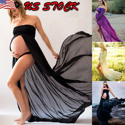 Women Lace Maxi Dress Pregnant Maternity Ball Gown Photography Props Party Beach