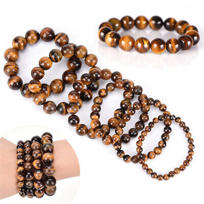 5pcs Natural Stone African Roar Natural Tiger's Eye Round Bead bracelet 7.5' 8mm