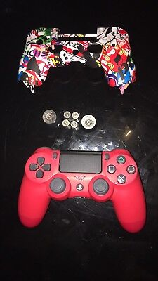PS4 DualShock 4 V2 Controller, Magma Red, Soft Touch Faceplate, Bullet Buttons