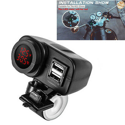 Motorcycle 12V/24V Digital Red LED Voltmeter Gauge+Thermometer+Dual USB Charger