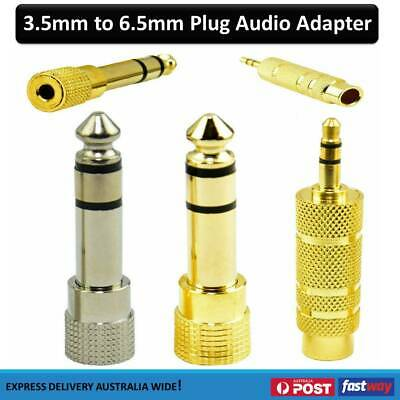 Stereo 3.5mm Gold Jack Socket to 6.35mm Plug Headphone Earphone Adapter