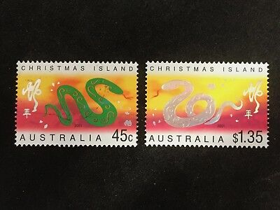 2001 Christmas Island Year Of The Snake Pair Of 50C & $1.35 Stamps - Fine Used