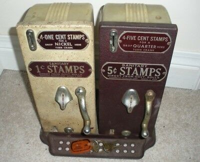 Schermack SIDE BY SIDE 1 & 5 Cent Postage Stamp Vending Machines w/ COUNTER BASE